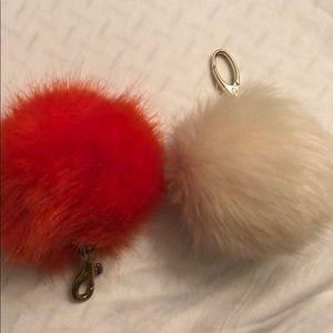 Orange and cream Pom Pom keychain